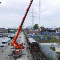 Mit dem Flachwaggon ist das Ladegleis im Museumshafen Harburg komplett