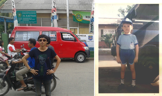 The left one is a photo of me in 2013, and the right one is a photo of me in 1993, in front of the kindergarten Al Kautsar.