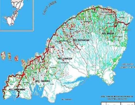 Peta wilayah Kabupaten Lombok Utara.