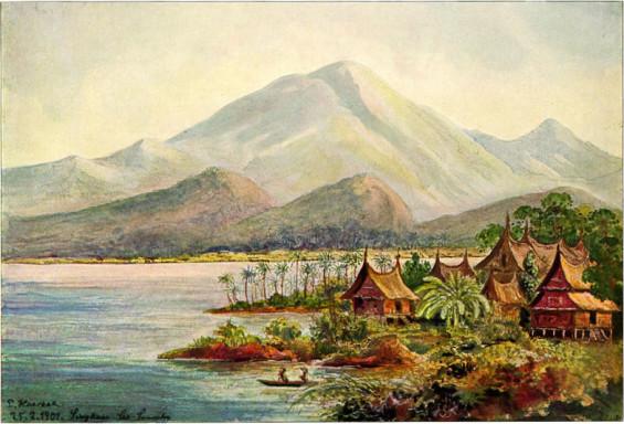 Lukisan Danau Singkarak, salah satu karya Haeckel dalam buku Wanderbilder (1905).