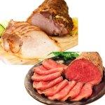 焼き豚「銀閣」と黒毛和牛のモモ肉を使ったローストビーフの詰め合わせ。