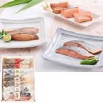 「鮭の味噌漬」、「鮭の粕漬」、「鮭の糀漬明太風」、「鮭の糀漬」の4品