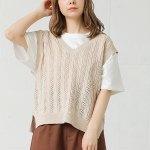 ざっくりとしたケーブルの透かし編みデザインが、夏っぽくかわいいニットベスト。