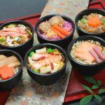 彩のよいハスカップの酢飯や、海老や蟹のちらしなど華やかなお椀シリーズです。