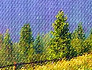 Mattina piena di sole Paesaggio con la tecnica del puntinismo