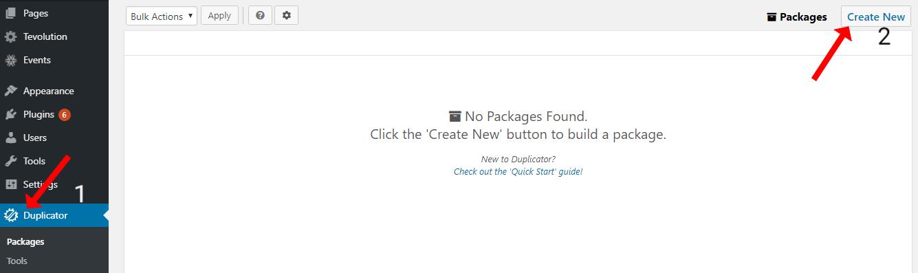 Create New Duplicator