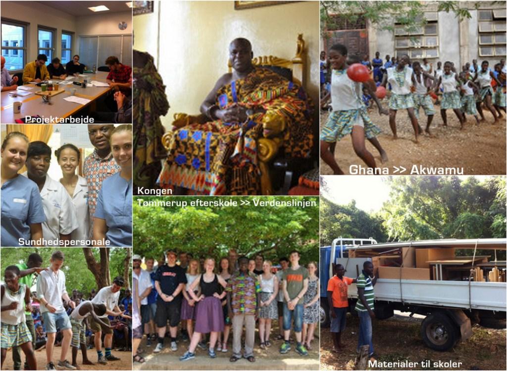 Collage med fotos fra Ghana - Akwamu. Tømmerup efterskole's verdenslinje på besøg