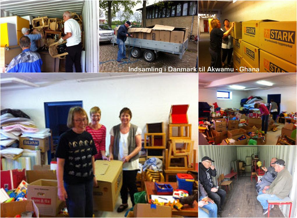 Collage med fotos af indsamling i Danmark til Ghana - Akwamu