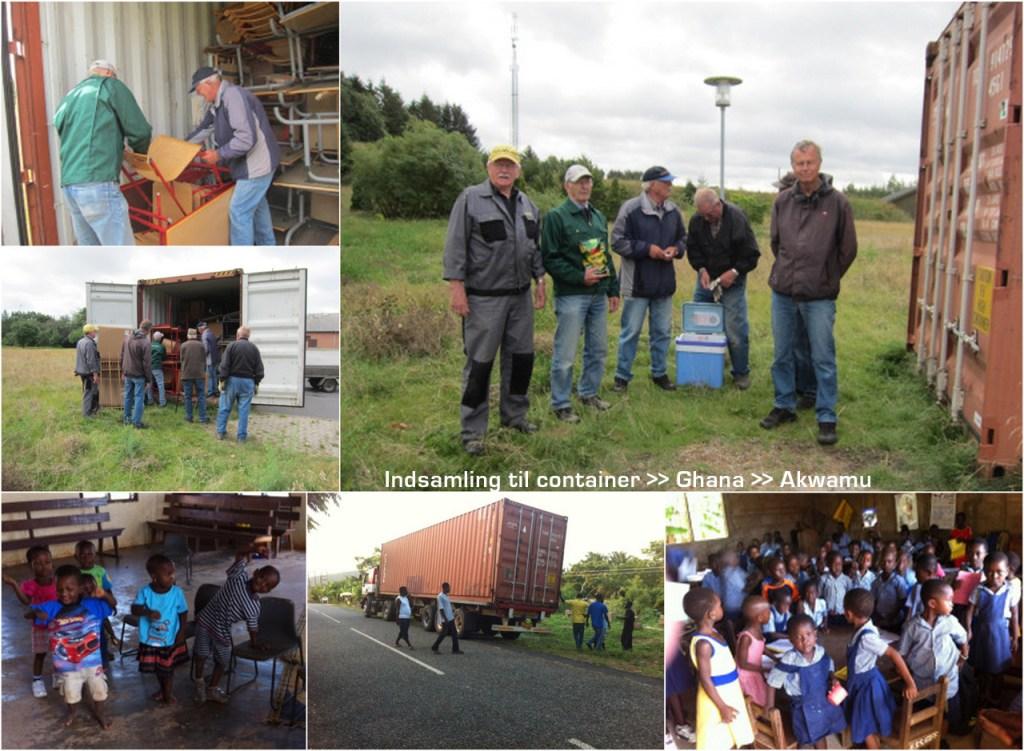 Collage med fotos fra indsamling til Ghana og modtagelsen