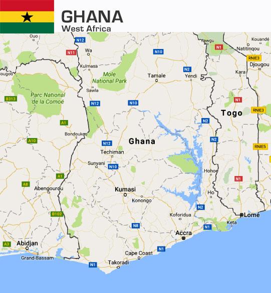 Ghana Kort med flag indsat