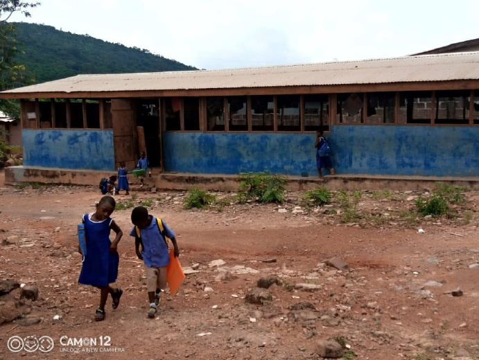 The blue structure with the school children is the Kinder Garden