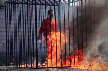 داعش تحرق الطيار الاردني معاذ الكساسبة