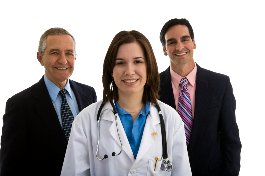 Female Doctor with Administrators