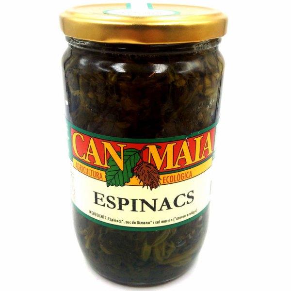 Espinacas cocidas ECO. Tarro cristal 610gr. Can Maia.