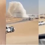 شاهد: انفجار خط مياه التحلية الرئيسي بالرياض