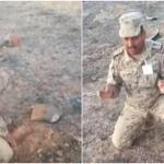 """لن تصدق..مهارة """"عقيد سعودي"""" في فك ألغام الحوثيين بالحد الجنوبي..وهذا طلبه من زملائه !-فيديو"""