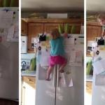 شاهد .. طفلة مشاغبة تتسلق ثلاجة كالسحلية !