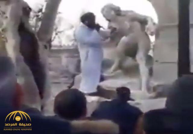 شاهد .. متطرف يحطم تمثال أثري في الجزائر لسيدة عارية!