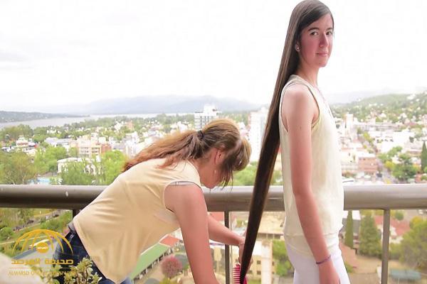 شاهد .. أطول  شعر فتاة  في العالم!