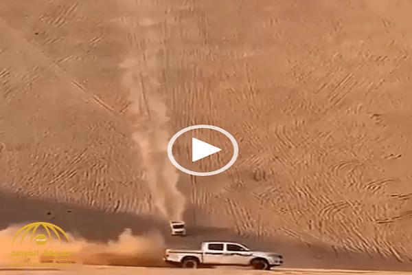 شاهد: تطعيس في منطقة صحراوية ينتهي بحادث وانقلاب!