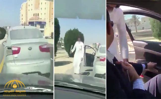 شاهد : شاب يعترض سيارة مقيم عربي ويهدده بساطور .. والشرطة تصدر بيان