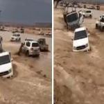 شاهد .. لحظة جرف السيول لعدد من السيارات بالرياض