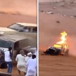 فيديو .. استعراض شاب أمام الجمهور ينتهي بحادث مروع واشتعال المركبة في الإمارات