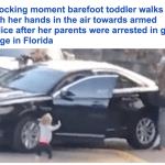 شاهد: ردة فعل جريئة من طفلة بعد القبض على والديها من قبل الشرطة الأمريكية في أحد شوارع فلوريدا!
