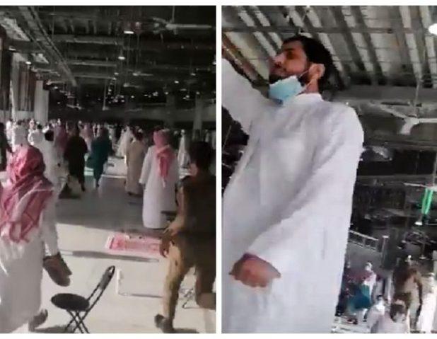 """شاهد.. القبض على """"إرهابي"""" أثار فزع المصلين بالحرم بصرخاته وترديد عبارات المنتمين لداعش"""