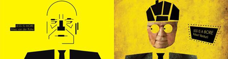 توضيح للصراع الحاصل بين اتجاهين معاكسين في العمارة. على اليمين روبيرت فينتوري وعلى اليسار ميس فان دير روه