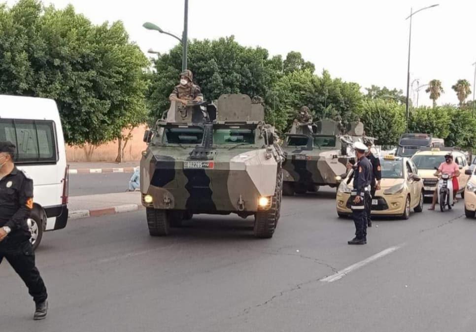 مركبات الجيش بشوارع مراكش