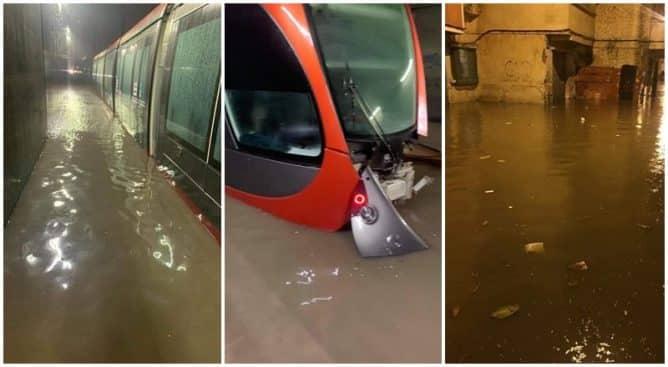 غمرت سيارات وقاطرات الطرامواي.. الأمطار تغرق شوارع البيضاء وتعري واقع البنتة التحتية للمدينة (صور)