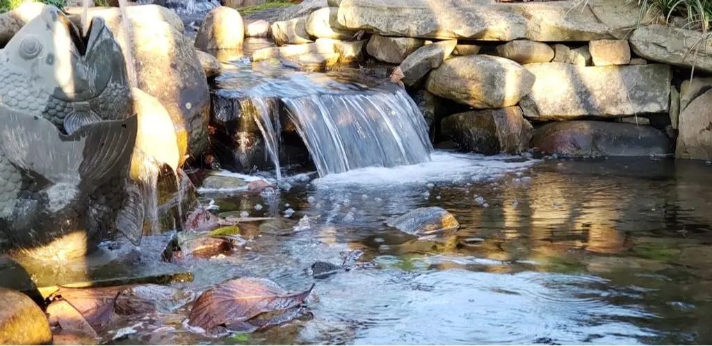 a waterfall in Huntsville Botanical Gardens in Alabama