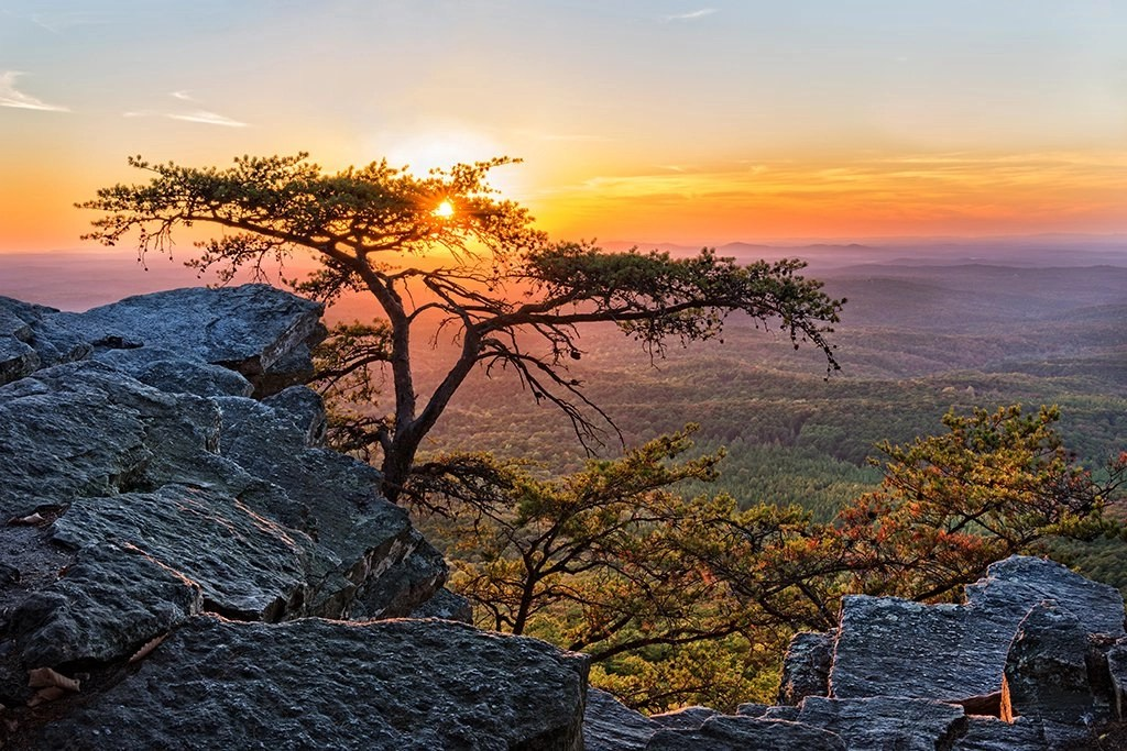 View from Mount Cheaha over the mountains in Alabama at sunset