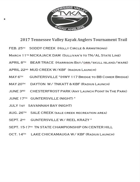 Tennessee Valley Kayak Anglers 2017 Schedule