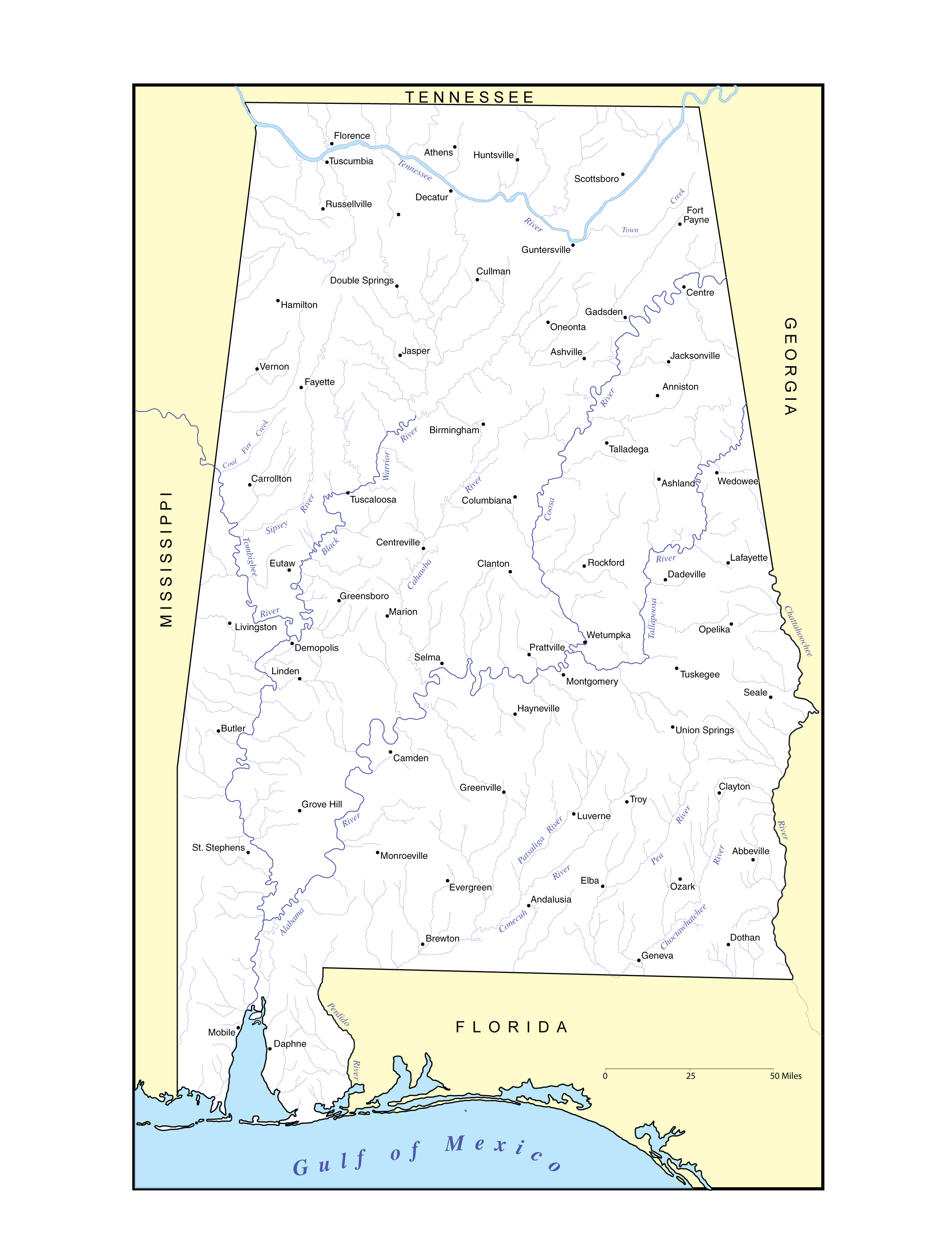 Alabama Outline Maps And Map Links