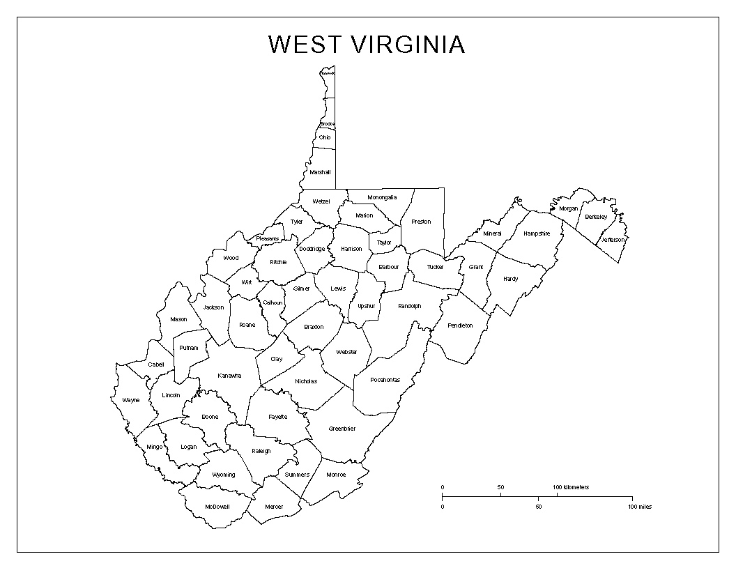 printable road map of west virginia counties in wv map my blog