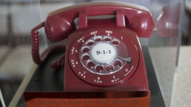 First 911 call made in Haleyville, Al. Historic 911 phone. Photo courtesy of Bernard Troncale.