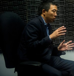 Andrew Yang records a podcast while visiting Alabama Power. (Billy Brown/Alabama NewsCenter)