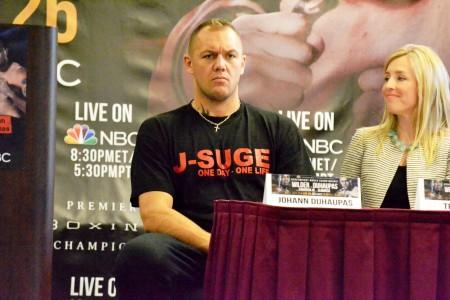 Johann Duhaupas seated with interpreter at this week's press conference. (Solomon Crenshaw Jr./Alabama NewsCenter)