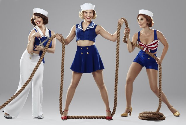 "The cast of ""Dames at Sea"" on Broadway includes, from left, Lesli Margherita, Eloise Kropp and Mara Davi. (Photo/Nathan Johnson)."