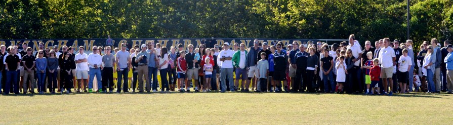 Former players and family at the tribute to Preston Goldfarb. (Solomon Crenshaw Jr./Alabama NewsCenter)