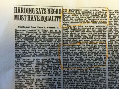 Harding news clippings 1