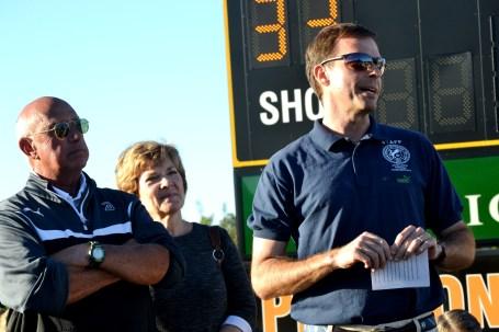 Scott Berte, former goalie, speaks during tribute to Preston Goldfarb. (Solomon Crenshaw Jr./Alabama NewsCenter)