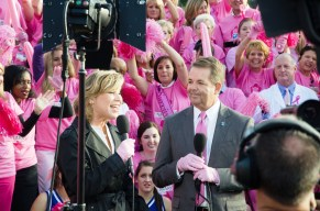 Sue MacInnes, chief market solutions officer of Medlline, and Mark Nix, CEO of Infirmary Health, celebrated the video winning the Pink Glove Dance competition. (contributed)
