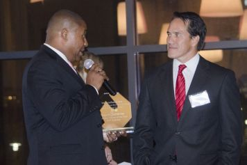 Porter addresses emcee Mike Dubberly, morning anchor with WBRC FOX 6's Good Day Alabama.