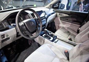 The interior of a 2017 Honda Ridgeline pickup truck is seen after the debut at the 2016 North American International Auto Show. (Daniel Acker/Bloomberg)