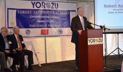 Governor Robert Bentley speaks at the Yorozu groundbreaking. (Michael Tomberlin/Alabama NewsCenter)