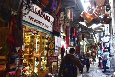 Alabama-The Heart of Dixie shop is hard to miss in Jerusalem. (Karim Shanmsi-Basha