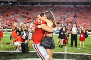 Georgia linebacker Jake Ganus proposed to Peyton Thomas. (Photo by Blane Marable)
